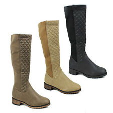 WOMENS LADIES CASUAL LOW BLOCK HEEL QUILTED KNEE HIGH BOOTS SHOES SIZE 3-8