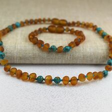 Amber teething necklace. Baltic amber. Baby amber necklace. Amber Bracelet, Sets