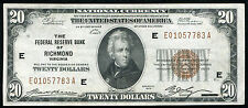 FR. 1870-E 1929 $20 FRBN FEDERAL RESERVE BANK NOTE RICHMOND, VA UNCIRCULATED