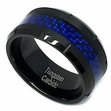 9mm Black Tungsten Carbide Blue Carbon Fiber Inlay Grooved Wedding Band Ring