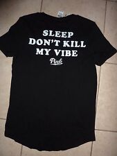 "VICTORIAS SECRET PINK GRAPHIC ""SLEEP DON'T KILL MY VIBE"" RAW CUT DOG TEE NWT"