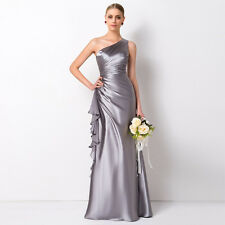 One Shoulder Long Evening Bridesmaid Dress A Line Satin Party Formal Gowns HD037
