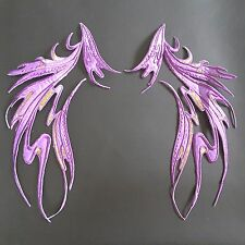 "Purple Wings Dance Costume Mirror Pair Embroidered 12"" Iron-on Patch Applique"