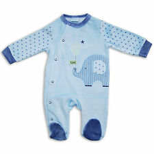 Cute Newborn Baby Boys Girls Velour Sleepsuit Super Soft Romper Babygrow in Blue