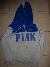 """VICTORIAS SECRET PINK RARE PERFORATED APPLIQUE LETTERS """"PINK"""" ZIP HOODIE NWT"""