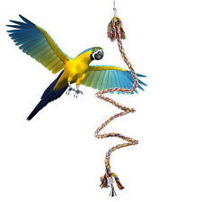 1 1.5M Pet Bird Parrot Rope Coil Swing Perches Cockatiel Conure Cage Toys ON