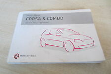 VAUXHALL CORSA CAR & COMBO VAN 2001-2006 Owners Manual Book Handbook Pack