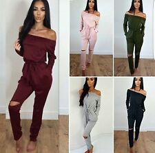 Women Fashion Sexy Off Shoulder Long Sleeves Jumpsuits Pants Hollow Out Rompers