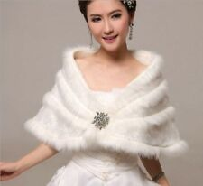 2016 Fashion White/ivory Faux Fur Bolero Wrap Shawl Bridal Jacket Shrug Scarf