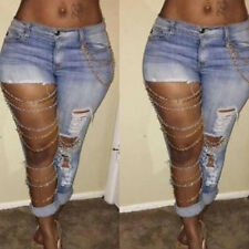 Sexy Women Ripped Fashion Blue Hole Skinny Gold Chain Jeans Denim Pants Legging