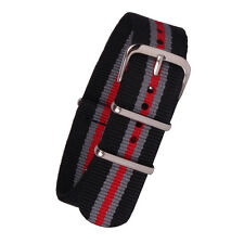 18mm 20mm Buckle Red Grey Stripes Nylon Watch Strap Wristwatch Band Watchband