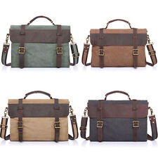 Men's Vintage Canvas Leather Messenger Shoulder Bag Handbag Briefcase Laptop Bag