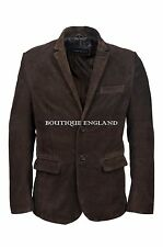 New Men's Stylish Milano 2 button Classic Blazer Brown Suede 100 % Leather Coat