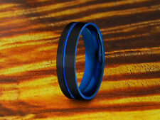 Wedding Band Tungsten Black & Blue,Two Tone Ring,6mm,Black Tungsten Ring,Gift.