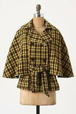 NEW Anthropologie What Goes Around Comes Around Belted Plaid Cape Coat Size XS M