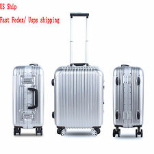 "21"" 25"" Travel Luggage ABS+PC Aluminum Trolley Hard Suitcase TSA Silver/ Gold US"