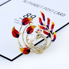 Fashion Pearl Peacock Brooches Cloisonne Crystal Colorful Alloy Metal