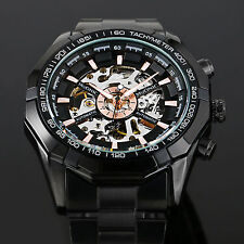 Mens Skeleton Stainless Steel Automatic Mechanical Military Sports Wrist Watch