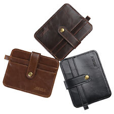 Men's Faux Leather Slim Wallet Credit Card Holder Money Clip Coin Purse Pockets