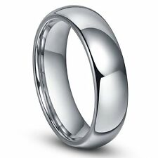 6mm Women or Men Tungsten Carbide Shiny Polished Plain Domed Wedding Band Ring