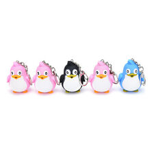 Cute Animal Benguin LED Light With Sound Key Chain Keyring Ring Torch Gift ToyJB