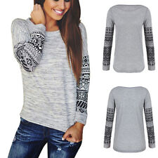 New Womens Lady Long Sleeve Shirt Casual Lace Blouse Loose Cotton Tops T Shirt