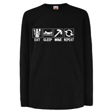 ALM786t-Kids Funny Slogans T Shirts-Eat Sleep Mine Repeat tshirt-Funny Gifts