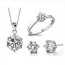 Romantic Wedding Fine Jewelry Set 6 Claw Pendant Earring Ring Real Silver Plated