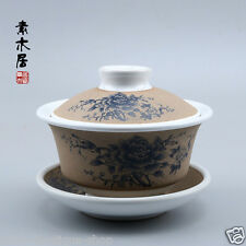 Chinese ceramic gaiwan tureen tea bowl crude pottery tea cup lid saucer floral