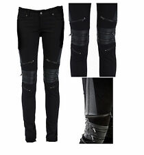 Gothic Moto Biker Pants Skinny Bondage Jeans Zipper Punk Vegi Leather Pants