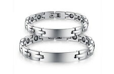 Titanium Magnetic Therapy Negative Ion Germanium Link Couple Bracelet 3500 Gauss