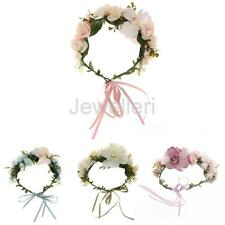 Bridal Silk Flower Crown Headband Wedding Prom Beach Floral Garland Hairband