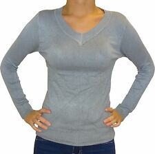Ladies Women Everyday Long Sleeved V-Neck Stretchy Top Jumper Size 6 8 10 12