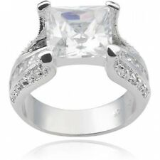 Alexandria Collection Women's Square-Cut CZ Sterling Silver Engagement Ring. Bes