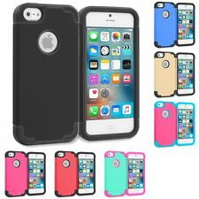 For Apple iPhone 5/5S/SE Hybrid Armor Hard Soft Silicone Slim Armor Cover Case