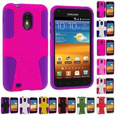 For Samsung Sprint Galaxy S2 S II Epic Touch 4G Hybrid Mesh Hard/Soft Case Cover
