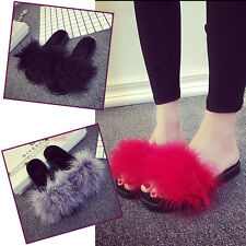 Fashion Women's Fur Fluffy Slides Mules Sandals Feather Slippers Shoes US 4.5-11