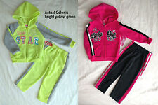 NWT Toddler Girls 2 Piece Fleece Hoodie Jacket & Pants Track Suit SET 2T 3T 4T