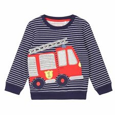 Bluezoo Kids Boys' Navy Striped Print Firetruck Applique Sweat From Debenhams