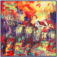 """NEW ARRIVAL Oil Painting Women Red Square Twill Silk Big Shawl Scarf 39""""*39"""""""