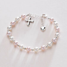 Pearl Cross Heart Bracelet Christening Confirmation Baptism Christian Gift