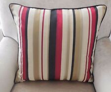 PAIR New SILK Red Gold Black Striped Cushion Covers with Red or Black piping