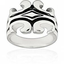Stainless Steel Ring with Black Enamel Inlay in Gothic Design. Best Price