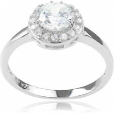 Alexandria Collection Women's Round-Cut CZ Sterling Silver Engagement Ring. Free