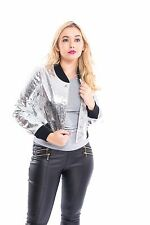 New  Womens Ladies Reversible Metallic Satin Bomber Coat Jacket Uk Size8,10,12