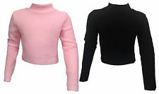 Girls Kids Childrens Plain Ribbed CROPPED WAIST High Neck Polo Neck Jumper Top