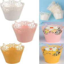 50x Filigree Cupcake Wrappers Cake Cup Wraps Cases Wedding Birthday Baby Shower