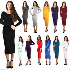 Women Ladies Long Sleeve Plain Jersey Stretch Bodycon Midi Maxi Dress Plus Size