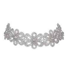 Vintage Flora Diamante Choker Rhinestone Choker Fashion Crystal Necklace Jewelry