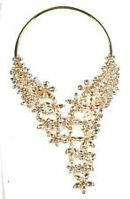 Gold Flora Crystal Statement Choker Shiny Rhinestone Choker Bib Fashion Necklace